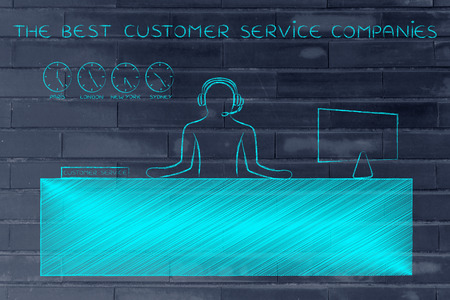 aftersales: the best customer service companies: employee with headphones working at his desk Stock Photo