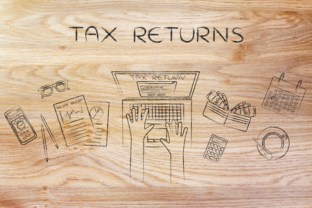 withholding: tax return: website login on users laptop screen and desk with income report documents, wallet, calendar and calculator