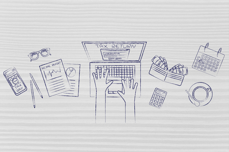 withholding: tax return website on users laptop screen and desk with income report documents, wallet, calendar and calculator