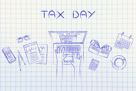 withholding: tax day: tax return website on users laptop screen and desk with income report documents, wallet, calendar and calculator
