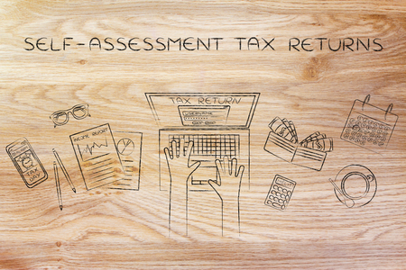 self-assessment ta returns: website login on users laptop screen and desk with income report documents, wallet, calendar and calculator Stock Photo