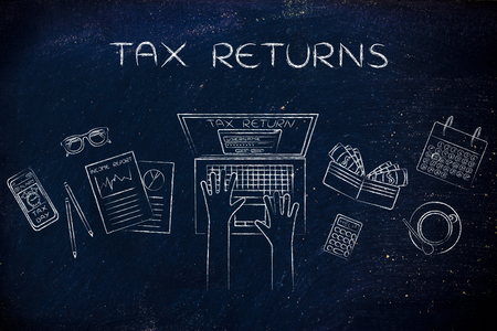 tax return: website login on users laptop screen and desk with income report documents, wallet, calendar and calculator