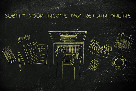 declare: submit your income tax return online: website login on users laptop screen and desk with income report documents, wallet, calendar and calculator