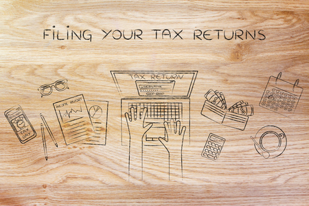declare: filing your tax return: website login on users laptop screen and desk with income report documents, wallet, calendar and calculator Stock Photo