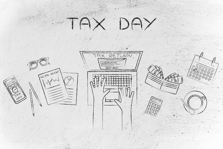 declare: tax day: tax return website on users laptop screen and desk with income report documents, wallet, calendar and calculator