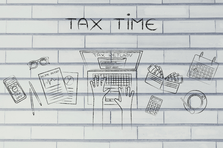 tax time: tax return website on users laptop screen and desk with income report documents, wallet, calendar and calculator