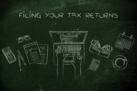 withholding: filing your tax return: website login on users laptop screen and desk with income report documents, wallet, calendar and calculator Stock Photo