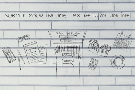 withholding: submit your income tax return online: website login on users laptop screen and desk with income report documents, wallet, calendar and calculator