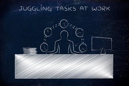 tasks: juggling tasks at work: employee or ceo juggling time (clocks) at his office desk