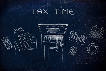 withholding: tax time: tax return website on users laptop screen and desk with income report documents, wallet, calendar and calculator