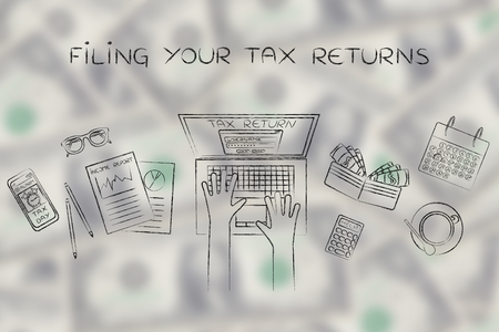 filing your tax return: website login on users laptop screen and desk with income report documents, wallet, calendar and calculator Stock Photo
