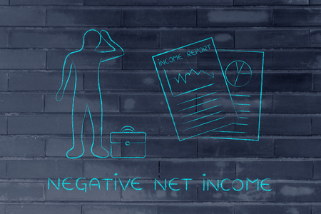 negative equity: Negative Net Income: stressed business man and negative results from Income Report documents