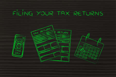 Filing your tax returns: tax return forms to fill out, calendar and smartphone with alert Stock Photo