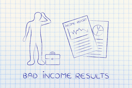 net income: Bad Income Results: stressed business man and negative results from Income Report documents