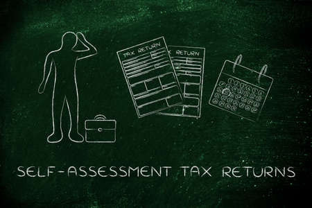 declare: self-assessment tax returns: stressed business man and tax return forms to fill out with calendar