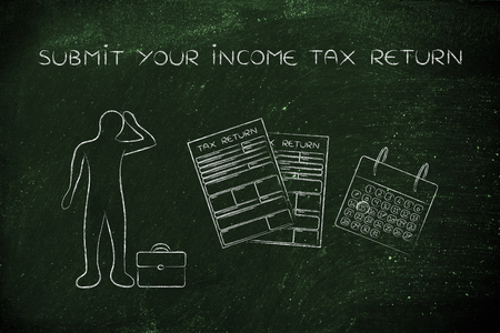 declare: submit your income tax return: stressed business man and tax return forms to fill out with calendar