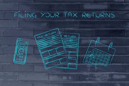 declare: Filing your tax returns: tax return forms to fill out, calendar and smartphone with alert Stock Photo