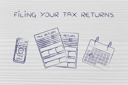 tax returns: Filing your tax returns: tax return forms to fill out, calendar and smartphone with alert Stock Photo
