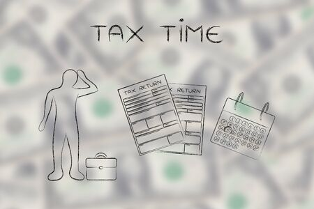 declare: tax time: stressed business man and tax return forms to fill out with calendar Stock Photo