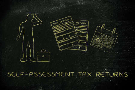 tax returns: self-assessment tax returns: stressed business man and tax return forms to fill out with calendar