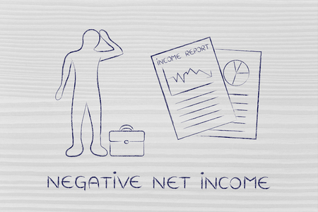 net income: Negative Net Income: stressed business man and negative results from Income Report documents