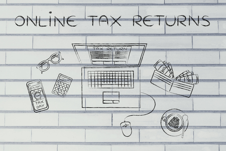 declare: online tax returns: laptop with tax return page on screen, surrounded by office desk objects & smartphone with alert Stock Photo
