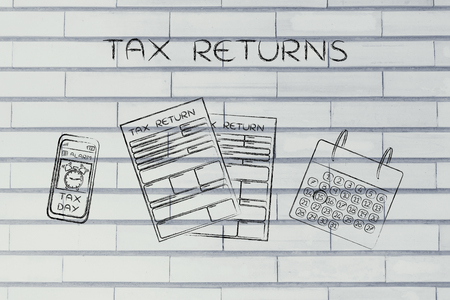 withholding: Tax Returns: forms to fill out, calendar and smartphone with Tax Day alert Stock Photo