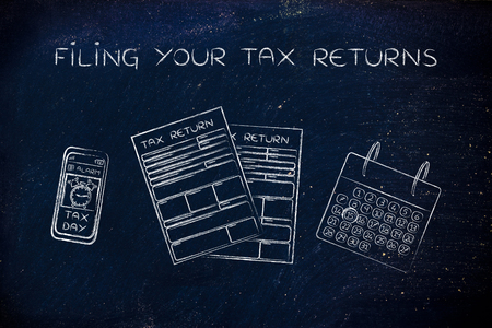 withholding: Filing your tax returns: tax return forms to fill out, calendar and smartphone with alert Stock Photo