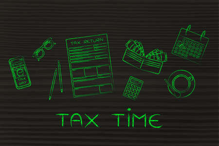 Tax time: tax return forms to fill out, surrounded by office desk objects & smartphone with alert Stock Photo
