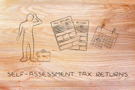 self-assessment tax returns: stressed business man and tax return forms to fill out with calendar