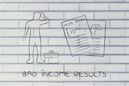 negative equity: Bad Income Results: stressed business man and negative results from Income Report documents