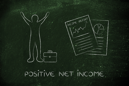 net income: positive net income: happy business man and positive results from Income Report documents