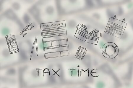 withholding: Tax time: tax return forms to fill out, surrounded by office desk objects & smartphone with alert Stock Photo