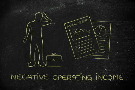 negative equity: Negative Operating Income: stressed business man and negative results from Income Report documents