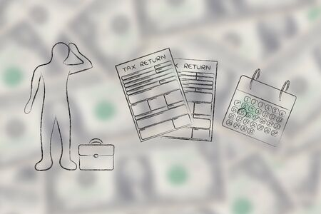 withholding: stressed business man and tax return forms to fill out with calendar