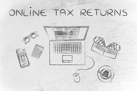 withholding: online tax returns: laptop with tax return page on screen, surrounded by office desk objects & smartphone with alert Stock Photo