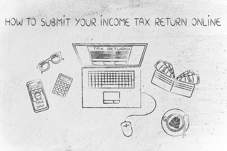 how to submit your income tax return online: laptop with tax return page on screen, surrounded by office desk objects & smartphone with alert