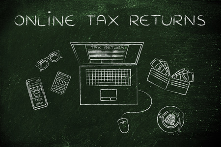 online tax returns: laptop with tax return page on screen, surrounded by office desk objects & smartphone with alert Stock Photo