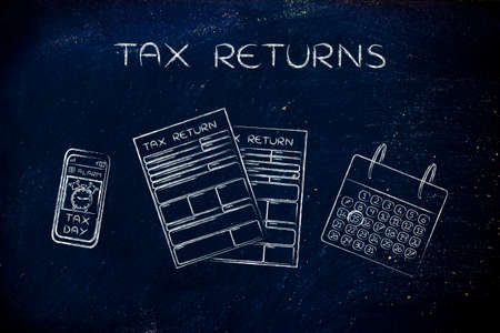 Tax Returns: forms to fill out, calendar and smartphone with Tax Day alert Stock Photo