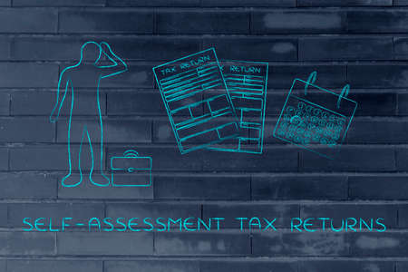 withholding: self-assessment tax returns: stressed business man and tax return forms to fill out with calendar