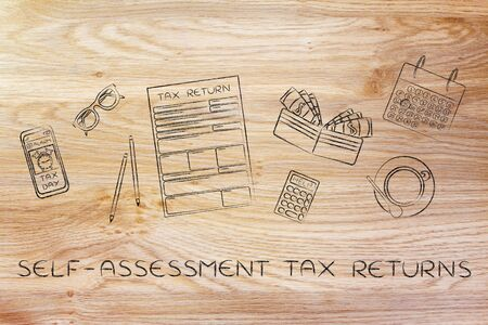 declare: self-assessment tax return: forms to fill out, surrounded by office desk objects & smartphone with alert
