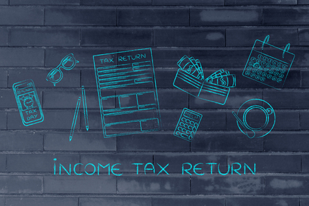 Income Tax Return: tax return forms to fill out, surrounded by office desk objects & smartphone with alert