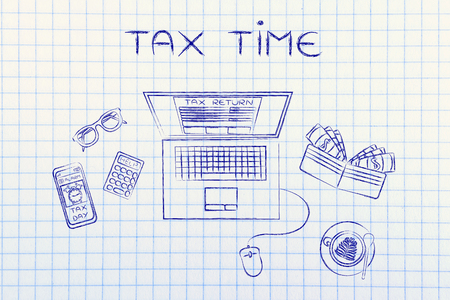 withholding: tax time: laptop with tax return page on screen, surrounded by office desk objects & smartphone with alert Stock Photo