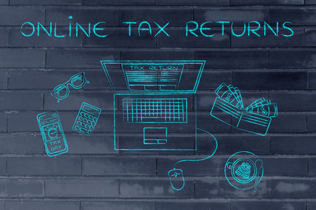 returns: online tax returns: laptop with tax return page on screen, surrounded by office desk objects & smartphone with alert Stock Photo