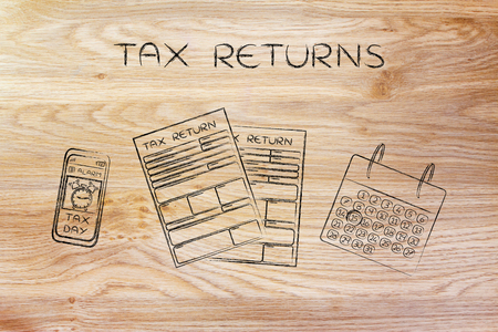 declare: Tax Returns: forms to fill out, calendar and smartphone with Tax Day alert Stock Photo
