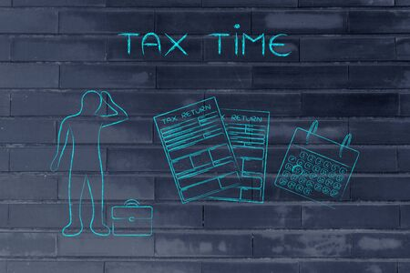 withholding: tax time: stressed business man and tax return forms to fill out with calendar Stock Photo