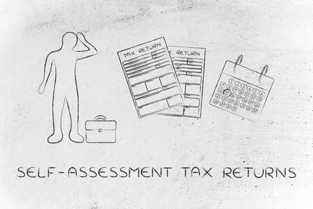 returns: self-assessment tax returns: stressed business man and tax return forms to fill out with calendar