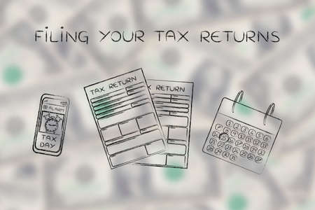 returns: Filing your tax returns: tax return forms to fill out, calendar and smartphone with alert Stock Photo