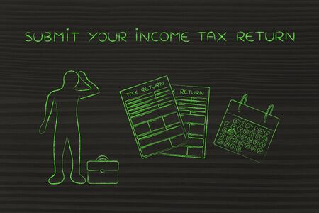 submit your income tax return: stressed business man and tax return forms to fill out with calendar