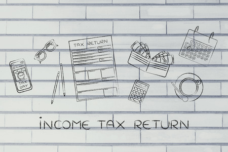 withholding: Income Tax Return: tax return forms to fill out, surrounded by office desk objects & smartphone with alert